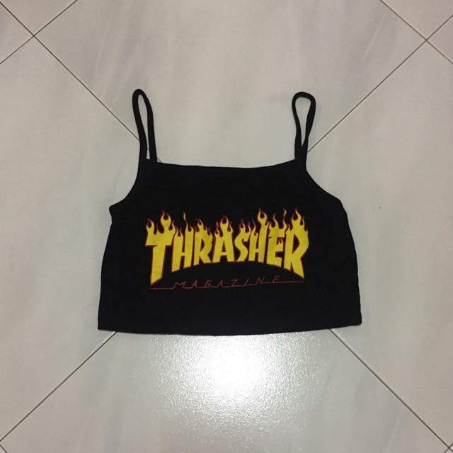 615b45166 Black Thrasher spags crop top, Women's Fashion, Clothes, Tops on ...
