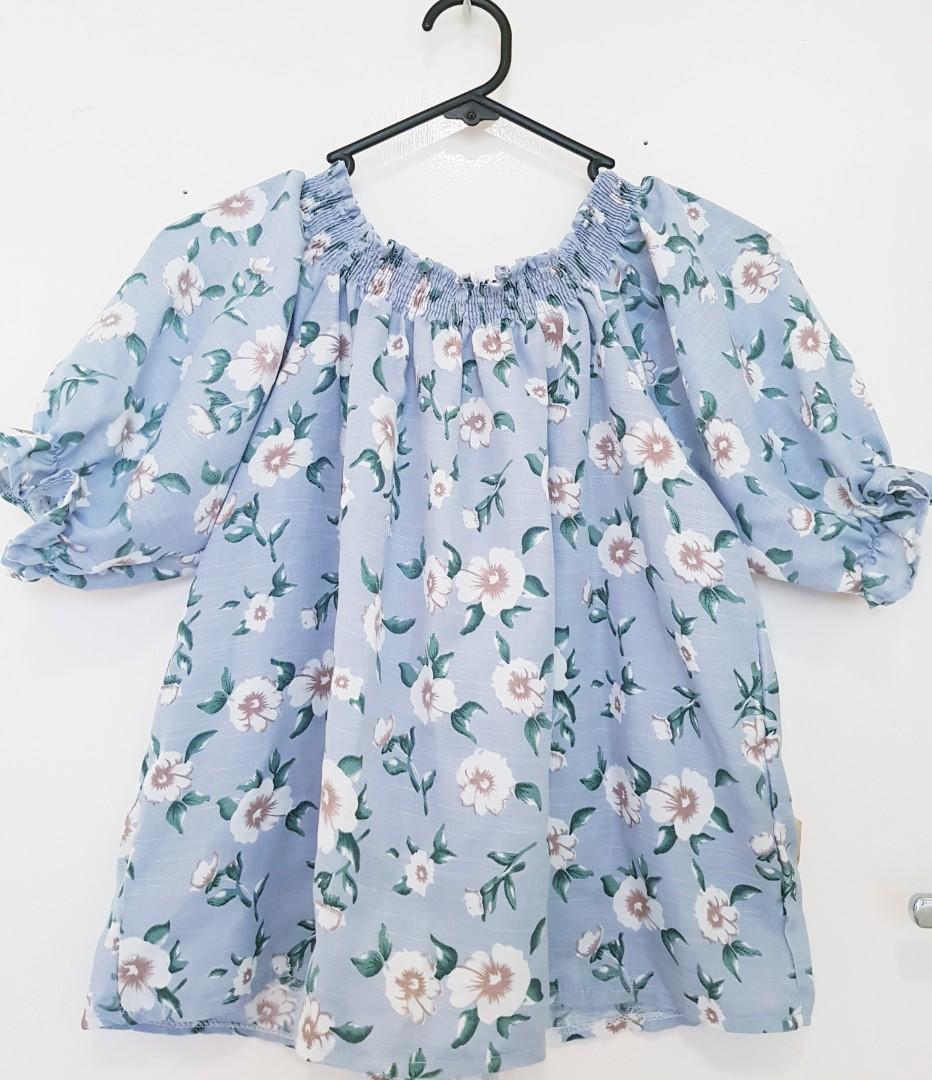 Blue floral off the shoulder top
