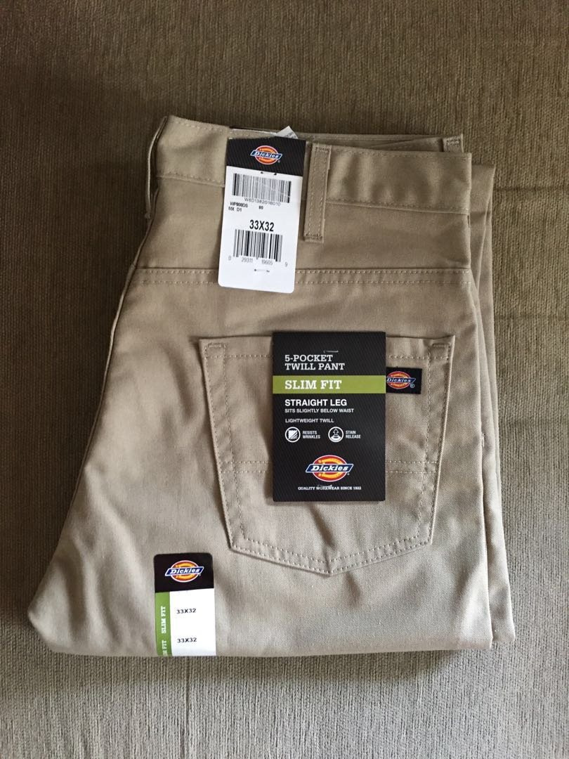 279ccc62db55a8 Dickies Mens Slim Straight Fit Light Weight 5-Pocket Twill Pant WP808  Clothing Pants