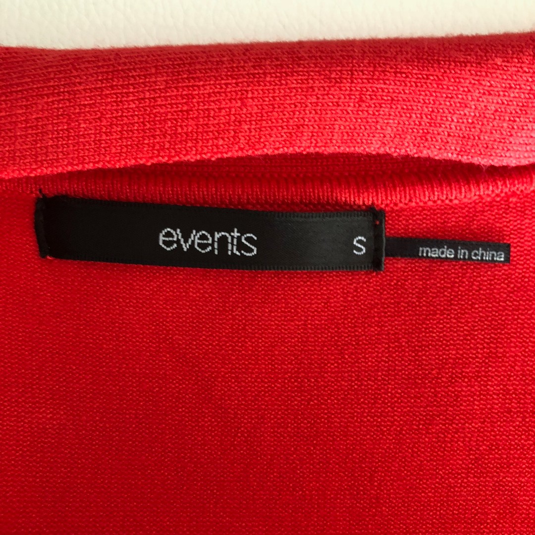 Events Tie Front Red Cardigan Size S - Brand New