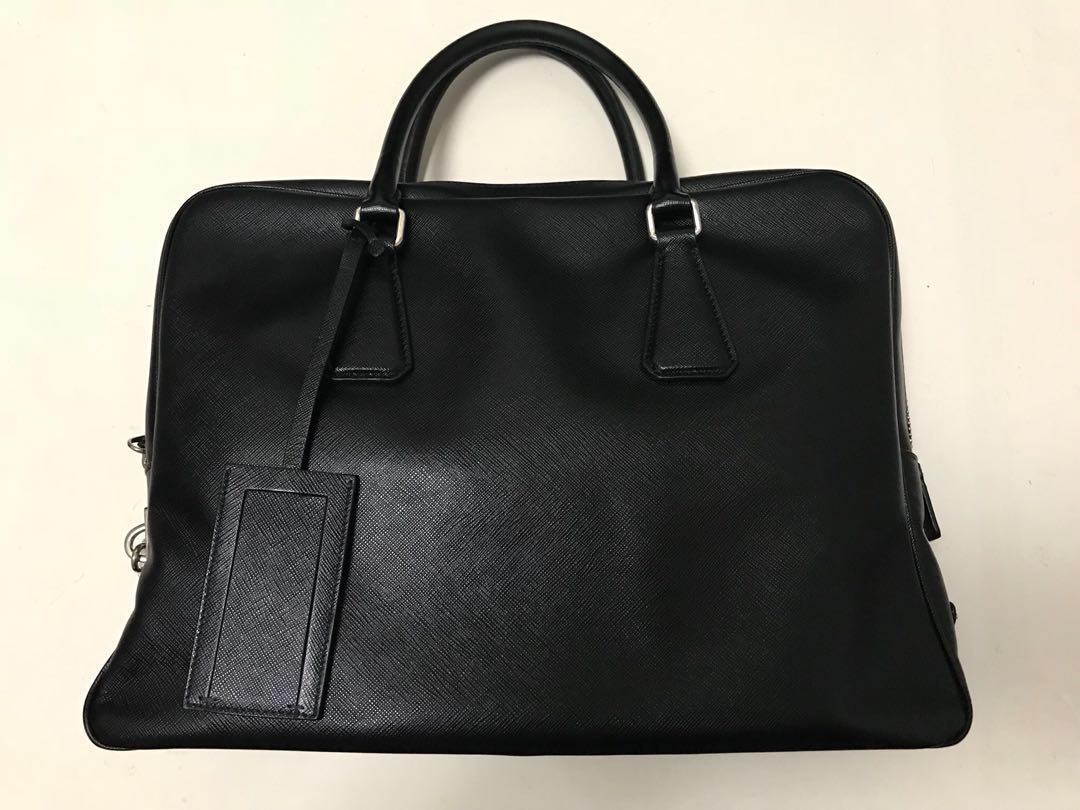49c1cc0a7ef4 ... greece fast deal prada saffiano black zip top briefcase bag luxury bags  wallets on carousell 45987