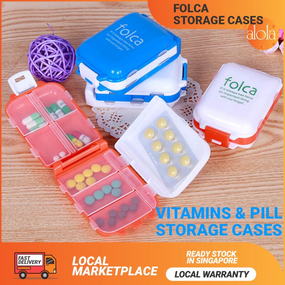 c6215c02765e ✓FREE POSTAGE: Folca Portable Pill Case Box 4 Pack Home Travel ...