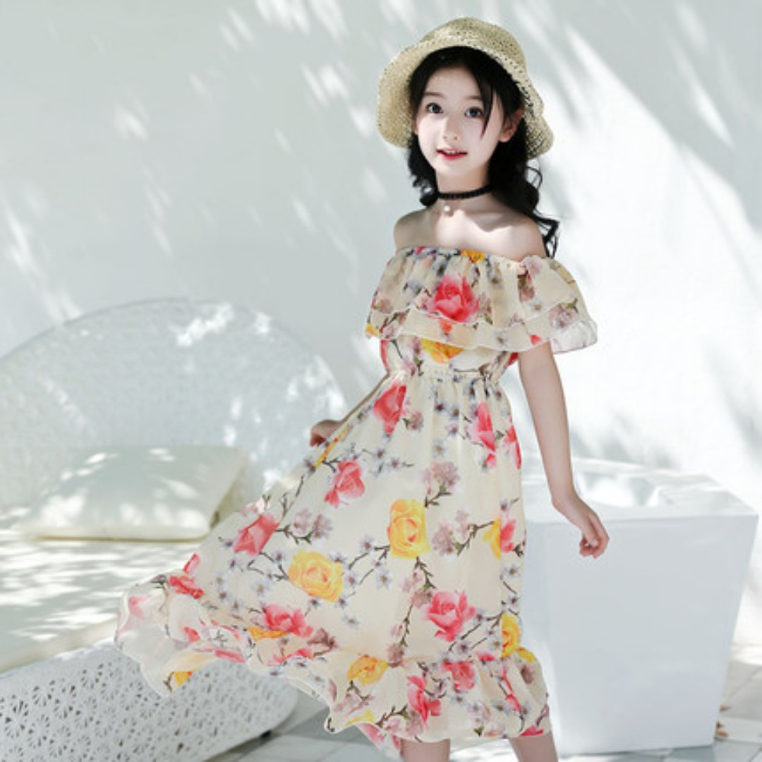 0dc2ff9643c Girls Chiffon Dress Off Shoulder Floral Up to 12 Years Old