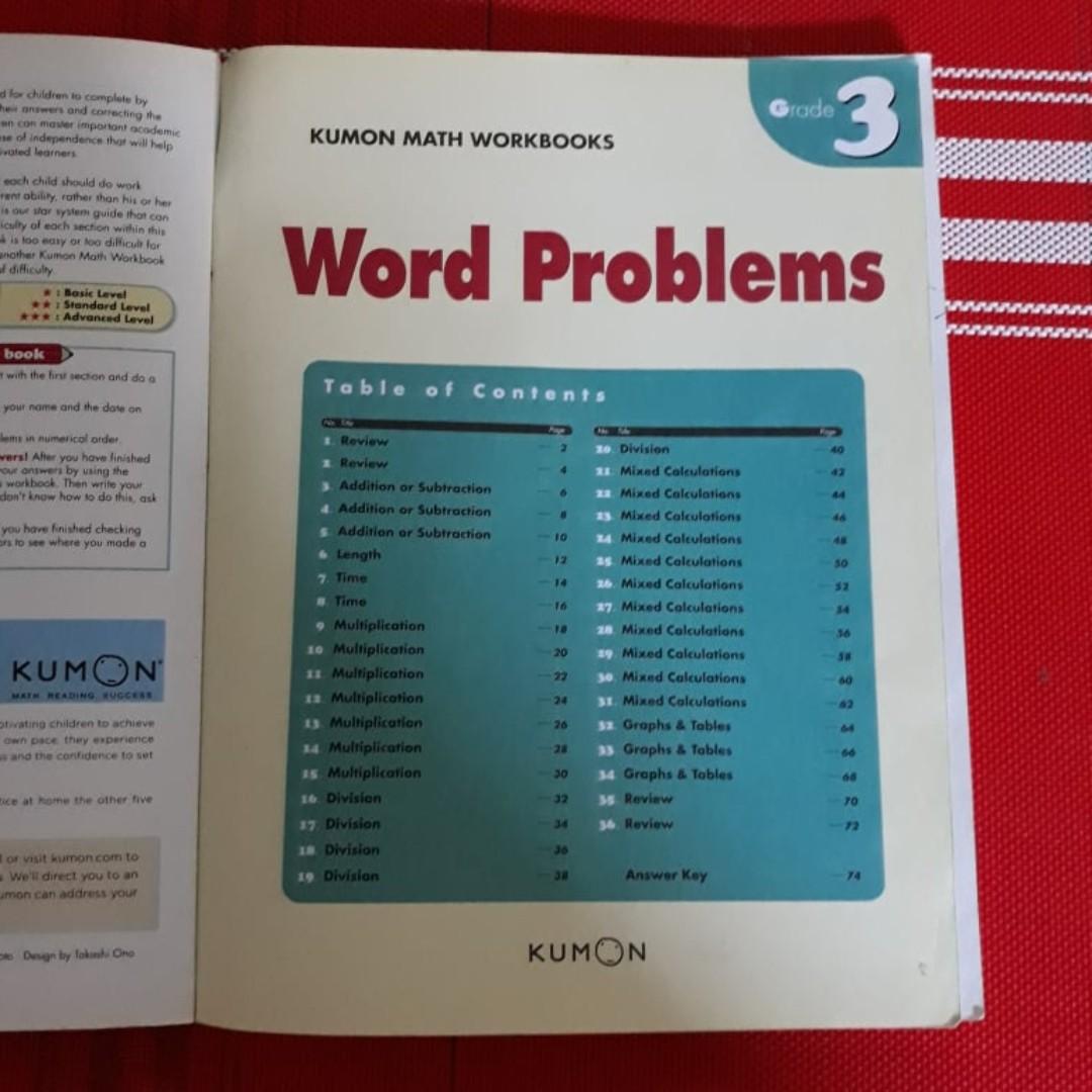 Kumon math workbook- Word Problems ( Grade 3), Textbooks on Carousell