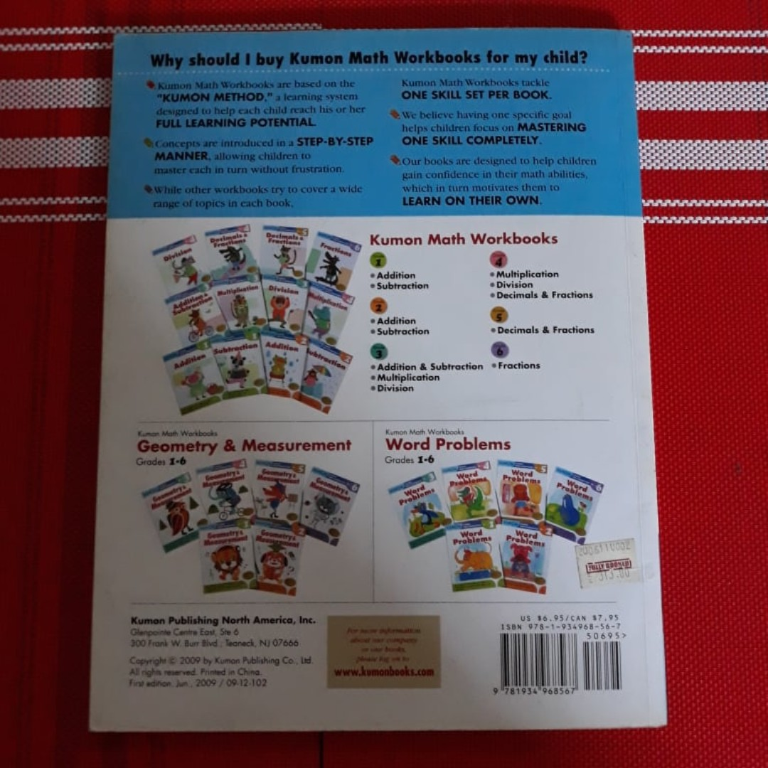 Kumon math workbook- Word Problems (Grade 6), Textbooks on Carousell