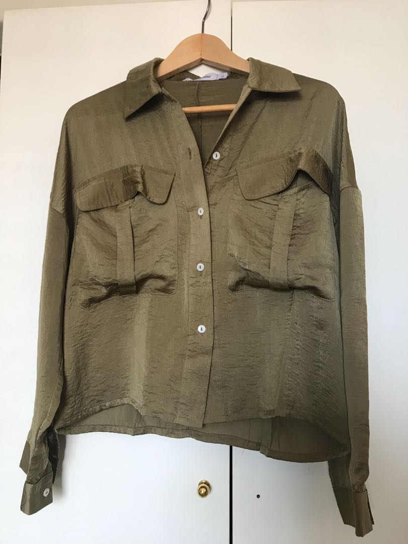 49a407a5f17882 Olive Satin-Polyester Work Shirt, Women's Fashion, Clothes, Tops on ...