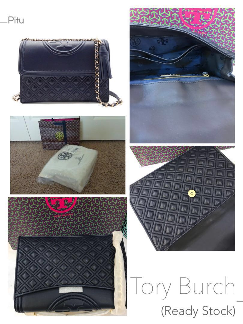 c882d7aa0a6 👑ON SALE! 💯% Authentic Tory Burch Fleming Royal Navy Leather Convertible  Shoulder Bag (Ready Stock) Medium Size 👍