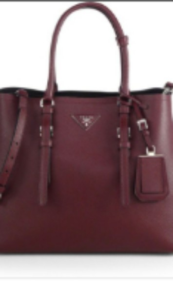 8893fb647f273 Pre-owned Prada Saffiano Double Bag in Maroon color