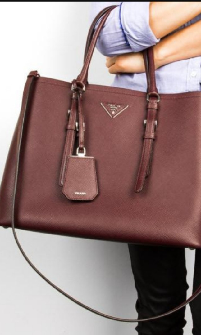 920c1ce4f409 Pre-owned Prada Saffiano Double Bag in Maroon color