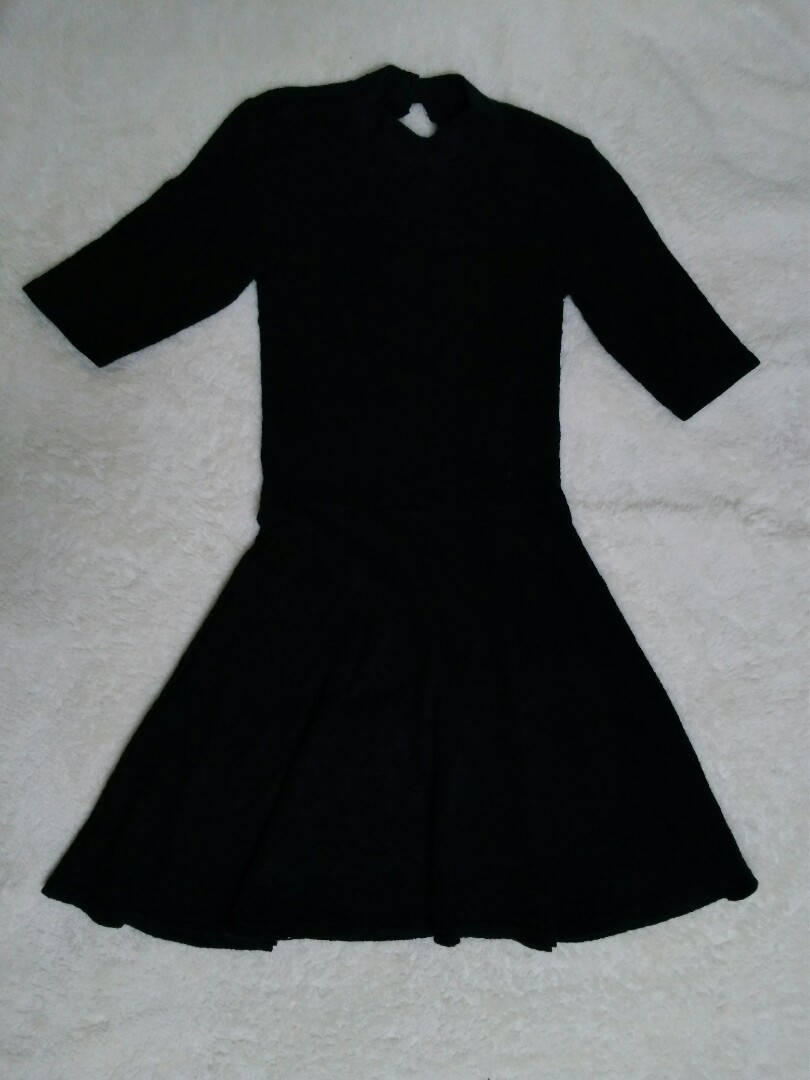 62f6bfc3fc89 Topshop Black turtleneck skater dress