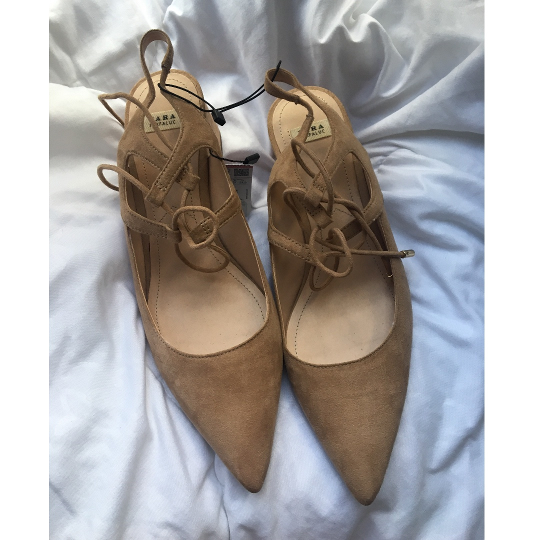 79141329c9 Zara pointed toe shoes with block heel - camel/tan color, Women's ...