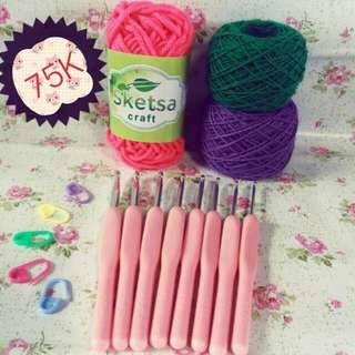 Paket Hakpen Rajut Pemula Free 3 Benang Rajut & 5 Stitch Marker (Stok Tinggal 1)