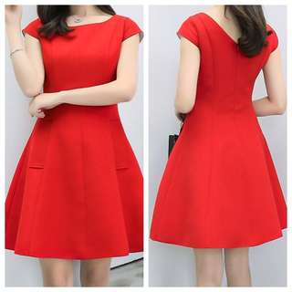Ponte fit and flare dress (red)
