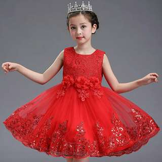 Princess Wedding Birthday Party Girls Red Flower Girl Dress