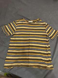🚚 Zara 黃色條紋短袖T恤上衣