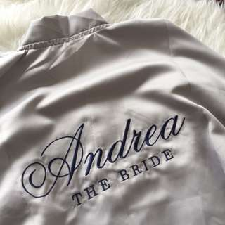 Personalised satin robe / wedding robe
