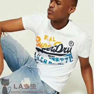 【LA 潮流】搬倉庫特價 ! 英國 新款直送 SUPERDRY 極度乾燥 圓領休閒時尚短袖T恤 短TEE - 白!