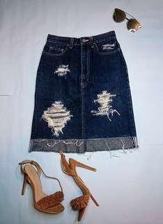 Ripped Denim high waist skirt