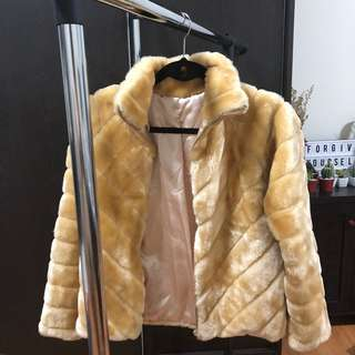 Thick Brown Faux Fur Coat