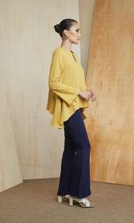 Mkita Raya Side Bias Top in Mustard