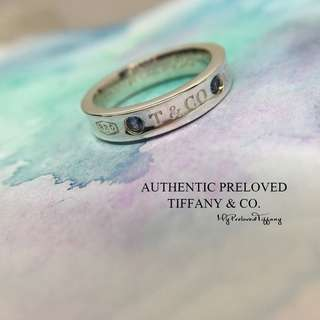 Excellent Authentic Tiffany & Co. 1837 Montana Blue Sapphire Silver Ring #4.5