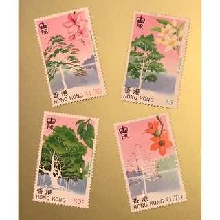 香港樹木紀念郵票一套。全新