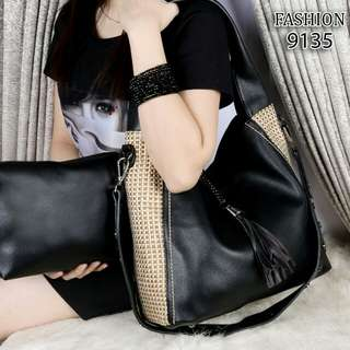 FREE ONGKIR Set 2 in 1 FASHION Lady Hobo Chic Slouchy Bags Smooth Leather Hardware Black  9135*