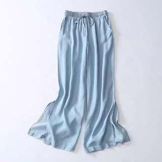 代購❤️淺色薄款側開衩牛仔九分寬褲