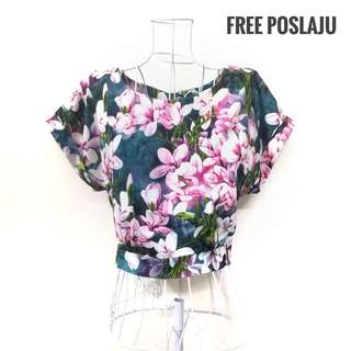 Floral Crop Top with Open Back [FREE POSLAJU]