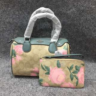 Coach Bennet Satchel with Camo Rose Floral Print