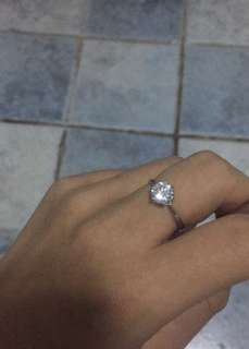 Diamond Ring/zirconia with real silver S925