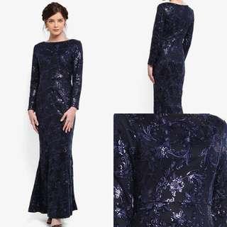 Zalia 2017 Navy Blue (Rent) Sequin Dinner Dress Evening Gown Lace Mermaid Shimmer Glitter