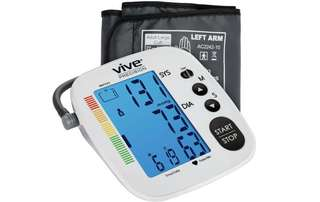 [IN-STOCK] Vive Precision Blood Pressure Monitor - Automatic Digital Upper Arm Cuff - Accurate , Portable and Perfect for Home Use - Electronic Meter Measures Pulse Rate - 1 Size Fits Most Cuff Silver