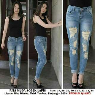 jeans lipat ripped jeans sobek furing jeans sobek lapis Rita Muda
