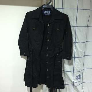 🚚 二手-黑色長版合身風衣外套
