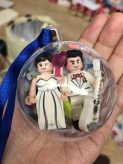 結婚禮物-西裝婚紗迷你人仔吊飾波波