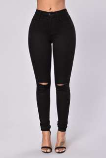 Fashion Nova High Waisted Black Ripped Jeans