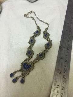 纯手工 青金石 古董铜项链