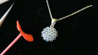 🍒Sterling Silver Necklace in micrpaved blue zirconia🍒 free gift box as pictured 🍎S925 純銀微鑲藍色鋯石頸鍊🍓免費送如圖精美盒