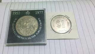 GB Queen Elizabeth II Crown Coin and Malaysia $1 1980