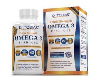 [IN-STOCK] Dr. Tobias Omega 3 Fish Oil Triple Strength , Burpless , Non-GMO , NSF-Certified , 180 Counts