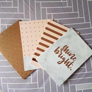 "$10 for 4 Striped Notebooks. ""Shine Bright"", Rose Gold, Polka Dot."