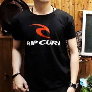 Unisex I Baju Kaos Atasan Distro Gambar Logo Rip-Curl I Wanita Pria Cewek Cowok I Warna Hitam Ukuran L