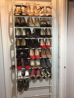 Shoe rack and various like new pumps, Nine West, fergie etc (all sold separately)