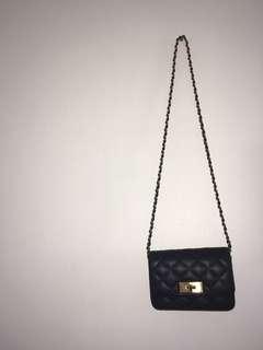Chanel-inspired black crossbody purse