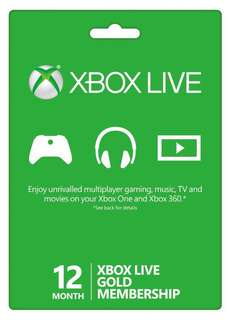 Xbox Live Gold 12 months subscription