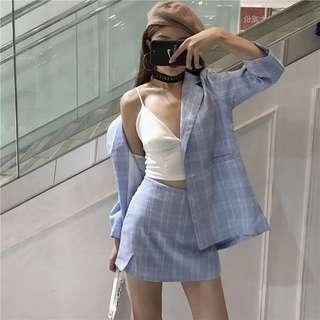 Blue checkered blazer set