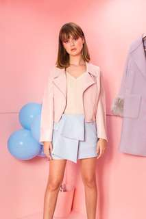 leather jacket, suede playsuit, baby blue leather skirt