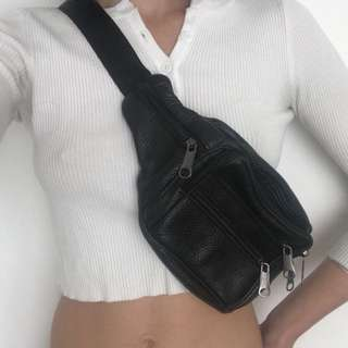 Leather Black Fanny Pack Bum Bag