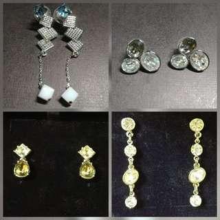 Swarovski Crystal 4 pairs of earrings 施華洛世奇水晶耳環4對